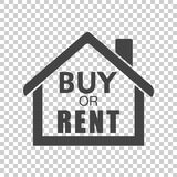 Buy or rent house. Black home symbol with the question. Vector i Stock Images