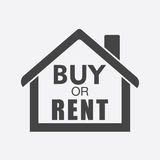 Buy or rent house. Black home symbol with the question. Vector i. Llustration in flat style on white background Stock Images