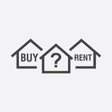 Buy or rent house. Black home symbol with the question. Vector i. Llustration in flat style on white background Royalty Free Stock Photos