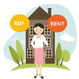 Buy or rent house home apartment woman decide vector illustration buying renting Royalty Free Stock Photos