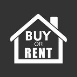 Buy or rent house. White home symbol with the question. Vector i Stock Image
