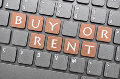 Buy or rent key on keyboard Royalty Free Stock Photography