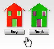 Buy or rent: this is the problem!. Concept image Stock Image