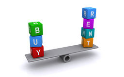 Buy or rent property balance Royalty Free Stock Photo
