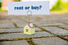 Buy or rent property concept. new House as wish .Text message Buy or rent with wooden small house. Business concept royalty free stock photos
