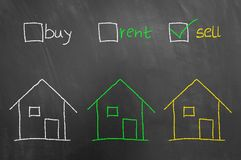 Free Buy Rent Sell Checkbox House Drawing On Blackboard Royalty Free Stock Photos - 121721408