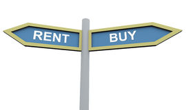 Buy or rent sign post Stock Image
