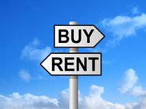Buy Rent Sign. Buy or rent on signpost against blue sky Stock Images