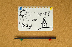 Buy or rent. Text note message pin on bulletin board stock photo