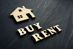 Buy or rent. Words with model of home royalty free stock image
