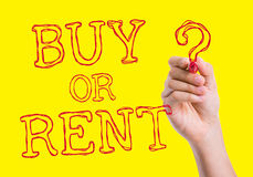 Buy or Rent written on wipe board Stock Photo