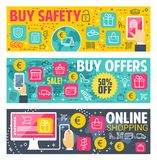 Safety buy vector banners for online shopping. Buy safety and internet shop technology vector banners for online shopping. Digital retail store shopping privacy Stock Photo