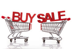 Buy and sale!. 2 baskets on white stock photos