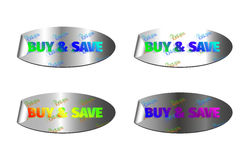 Buy & save color glow. Holographic stickers with the inscription buy & save color glow Royalty Free Stock Photography