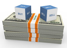 Buy and Sell. 3d box of text buy and sell on top of dollar's stacks Stock Photography