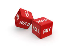 Buy or Sell?. Photo-real illustration of Two red dice engraved with Buy, Sell, and Hold embossed on sides.   on white background Stock Photo