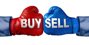 Buy Or Sell. Stocks or shares in a business as a boxing match in the symbolic financial ring of investing with two gloves fighting for trading direction in the Stock Image