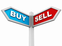 Buy or sell. Signboard pointing in direction of buy and sell, concept of investment, purchase or property or market related asset sale purchase decision Stock Photos