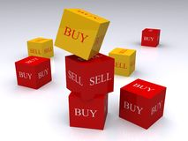 Buy and sell. Randomly arranged cubes in alternate yellow and red text and background, with the words buy and sell on all sides.  Isolated on a white background Stock Photos