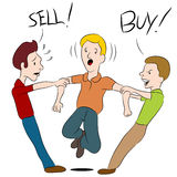 Buy Sell Argument. An image of a people arguing over whether to buy or sell Stock Images