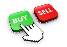 Buy Or Sell Button. Hand icon clicking on buy or sell web button 3D illustration Stock Images