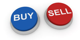 Buy and sell buttons. Two buttons on white background Royalty Free Stock Photos