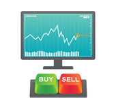 Buy and Sell buttons with stock chart. Green buy and red sell button on keyboard with stock chart on computer screen Royalty Free Stock Image