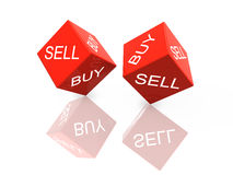 Buy Sell cubes. Financial Risk - conseptual 3d illustration of two dice on white background Stock Image
