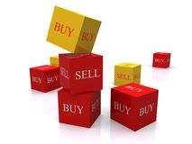 Buy and sell cubes. Sets of buy and sell cubes in red and yellow stock images