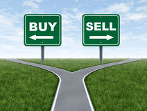 Buy and sell decision dilemma crossroads stock illustration