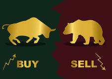 Buy Sell. Gold silhouette of a bear and bull.Inscription Buy and Sell Stock Images