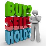 Buy Sell Hold 3D Words Investor Stock Market. A man thinks about the right choice for investing his money in the stock market, wondering whether to Buy, Sell or Stock Photo