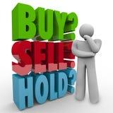 Buy Sell Hold 3D Words Investor Stock Market