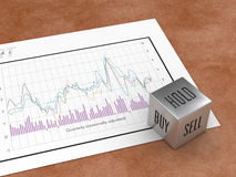 BUY SELL HOLD. Dice against a numbers chart Stock Photos