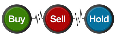 Buy Sell Hold Heartbeats. Stock marketing buy sell hold concept image with heart rate lines Stock Photos