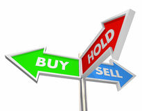 Buy Sell Hold Stocks Investment Decision Signs. 3d Illustration Stock Photo