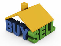 Buy sell home. Buying selling house property or real estate, with buy and sell text under roof of a house Royalty Free Stock Photography