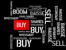 BUY - SELL - image with words associated with the topic STOCK EXCHANGE, word cloud, cube, letter, image, illustration Stock Images