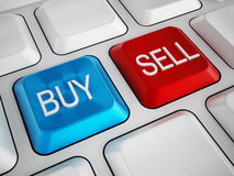 Buy and sell keys on white keyboard Royalty Free Stock Photo