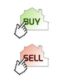 Buy sell on line real estate. Vector illustrations of cursor pointer finger upon houses with buy and sell text, related to real estate web trading companies Royalty Free Stock Photography