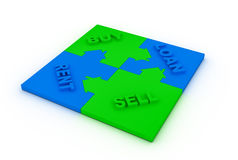 Buy,sell, loah  or rent concept puzzle Royalty Free Stock Image