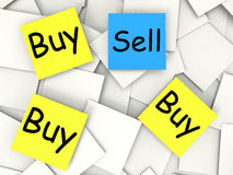 Buy Sell Post-It Notes Mean Sellers And Stock Images