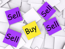 Buy Sell Post-It Notes Show Trade And Stock Image