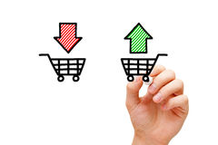 Buy or Sell Shopping Carts Concept. Hand drawing Buy or Sell shopping carts concept with marker on transparent wipe board royalty free stock photo