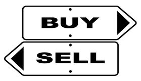 Buy and Sell Signs. Two Signs with the text buy and sell over white Stock Image