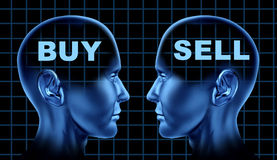 Buy sell stocks business financial market. Buy sell stock market symbol with two human heads facing one another representing different business opinions Royalty Free Stock Image