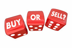 Buy or Sell Stocks Money Finances Dice Words Royalty Free Stock Images
