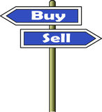 Buy - Sell street sign. A street sign indicating two opposite directions: left for buy and right for sell. Both sign plates have blue background Royalty Free Stock Image