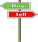 Buy - Sell street sign. A street sign indicating two opposite directions: left for buy and right for sell. Sign plate for buy has green background; sign plate Stock Image