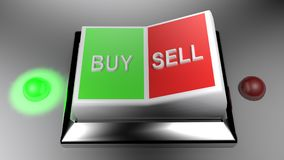 Buy and Sell switch set on Buying position - 3D rendering. A switch gives two options: buy and sell. Buying is selected - 3D rendering Stock Photography